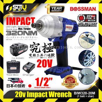 BOSSMAN BIW320-20M Cordless Impact Wrench 20V w/ 1 Charger + 1x 4.0Ah Battery