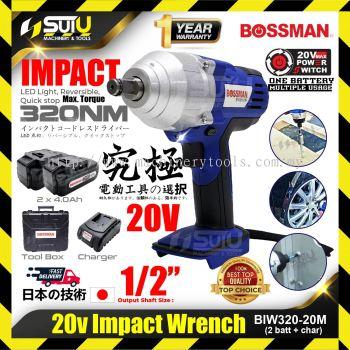 BOSSMAN BIW320-20M Cordless Impact Wrench 20V + 1 Charger + 2x 4.0Ah Battery