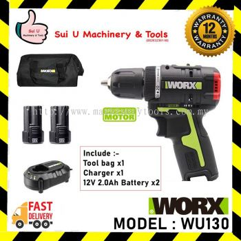 WORX WU130 Brushless Cordless Electric Screwdriver 12V 1800RPM c/w 2 Battery & Charger & Tool Bag