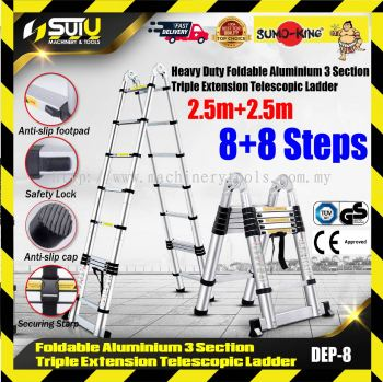 SUMO-KING DEP-8 Flodable Telescopic Ladder Double-sided+Extension(A+I type) 5m(2.5m+2.5m)
