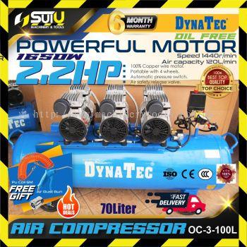 DYNATEC OC-3-100L Oil Free Air Compressor ( 100 Litres ) ( 3 Motor ) ( Silent Type )