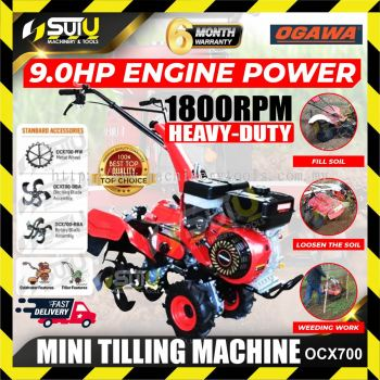 OGAWA OCX-700 9HP Heavy Duty Engine Power Mini Tilling Machine / Power Tiller Cultivator 1800RPM