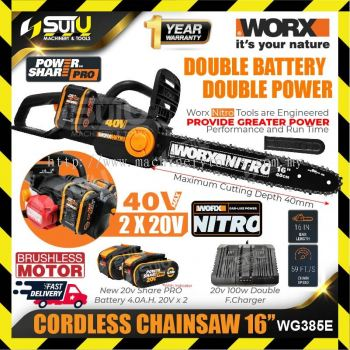 """WORX WG385E 16"""" 40V Cordless Chainsaw (Brushless Motor) with 2 x 20V 4.0Ah Batteries + Charger"""