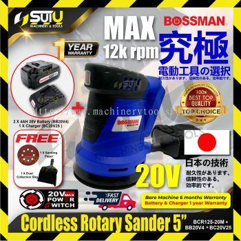BOSSMAN BCR125-20M 5�� 20V Cordless Rotary Sander 125mm MAX12k rpm w/1 x Charger & 1 x 4.0Ah Battery
