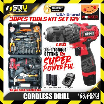 WORKER WK-PWT-5503-12V/30PCS Cordless Drill with Tools Kit Set