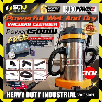 Eurox / EuroPower VAC5001 30L Commercial Wet & Dry Stainless Steel Vacuum Cleaner 1.5kW + BDM132