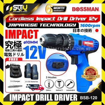 BOSSMAN BSB-120 / BSB 120 / BSB120 12V 10mm Cordless Impact Drill Driver 1600rpm