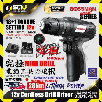 BOSSMAN BCD18-12M / BCD1812M 12V Cordless Drill Driver 28NM 1400rpm + 2xBat2.0Ah+Charger