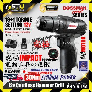 BOSSMAN BHD19-12M / BHD1912M 12V Cordless Hammer Drill 30NM 1400rpm + 1xBat1.3Ah+Charger