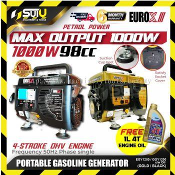 EUROX EGY1200 4-Stoke Portable Petrol Generator 1000w FOC 4T Engine Oil