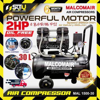 Malcomair MAL 1500-30 / MAL-1500-30 30L 2HP 8bar Silent Oil Free Air Compressor 2850rpm