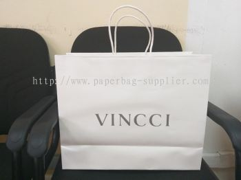 vincci paper bag M 160gsm bleached kraft with white twisted handle