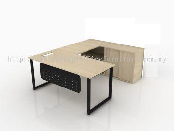 L-Shape Top c/w Wire Management, Metal Modesty Panel, Circle Leg, Open Shelf Cabinet & Sliding Door Cabinet