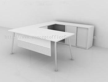 L-Shape Top c/w Wire Management, Metal Modesty Panel, Anchor Leg, Open Shelf Cabinet & Sliding Door Cabinet