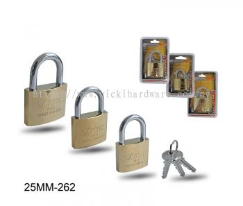 25MM 262  BRASS PLATED  PAD LOCK - 00399Q