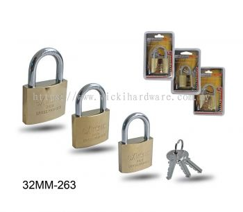 32MM 263 BRASS PLATED PADLOCK - 00399R