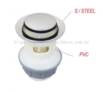 "SL 1-1/4""  PVC+ SS  POP UP WASTE & O/ FLOW-00216W"