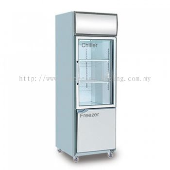 Piping System Dual 2 door Upright Chiller & Freezer