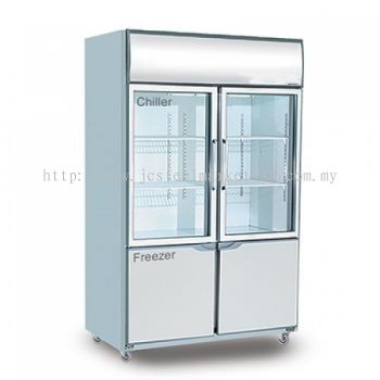 Piping System Dual 4 door Upright Chiller & Freezer