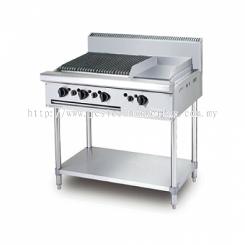Gas Combination CharBroiler Griddle with standing