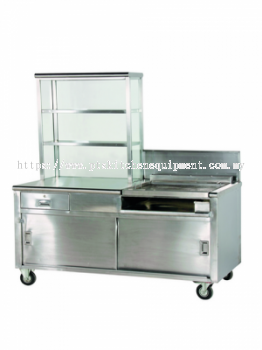 burger stall with hot plate
