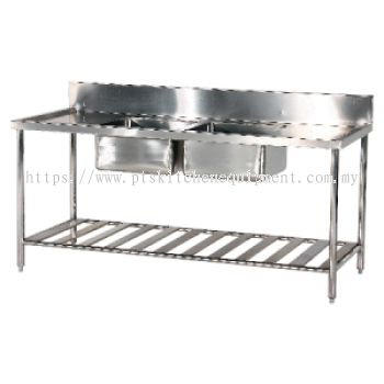s/s double bowl sink table