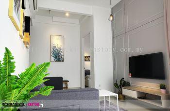 TV Cabinet with Hidden Door Wall Panel