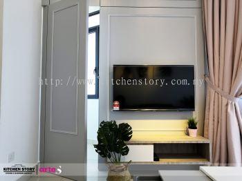 Tv Cabinet with Hidden Door Panel