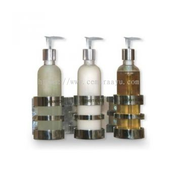 O 053a Stainless Steel Aminities Holder with Plastic Bottle Dispenser