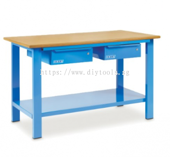 OMCN (ITALY) WORKBENCH WITH WOODEN BENCH-TOP & 2 DRAWERS - L1500 X W700 X H850MM (ITALY)