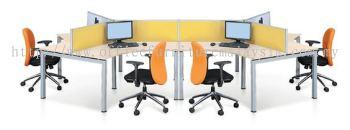 6 Pax AIM Y Shape Desking System (AIM28-C6-RM)