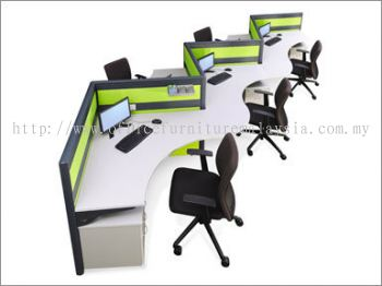 Boomerang Shape Office Workstation System (AIM60-C5-1-BS)
