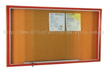 Wooden Frame Cabinet Notice Board With Cork Board