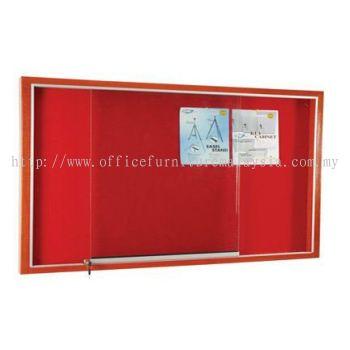 Wooden Frame Cabinet Notice Board With Velvet Board
