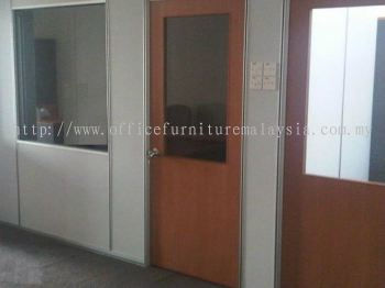 Supply and instal gypsum Board Partition and Half Glass Plywood Door