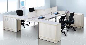 4 cluster L shape wooden desking system with vinca leg and side cabinet