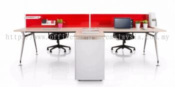 4 cluster red AIM desking system with abies leg and side credenza return