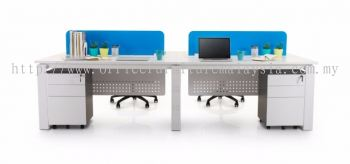 4 cluster blue acrylic AIM desking system rectangular workstation with vinca leg and high mobile pedestal