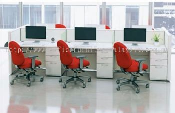 6 cluster workstation with red chair