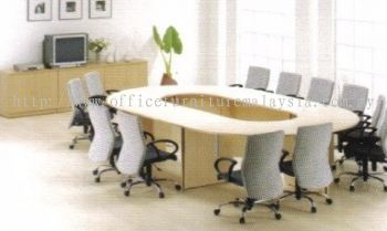 Oval big conference table with wooden leg (Full maple)