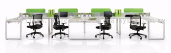 4 person AIM Desking system with cassia leg & acrylic panel