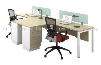 L shape workstation with 2+1 Pedestal and glass top divider SL series