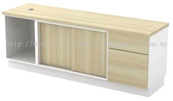Open Shelf with Sliding Door + Fixed Pedestal Side Cabinet (AIM1626)
