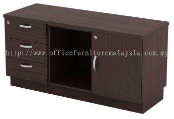 Fixed Pedestal with Open Shelf and Swinging Door Cabinet (AIM6122)