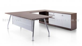Director L-Shape table with side cabinet