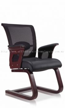 Presidential visitor mesh wooden base chair AIM6602VA-CV