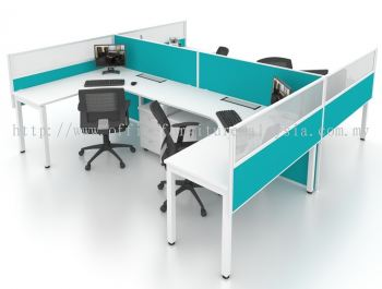 L shape workstation with full and hanging partition