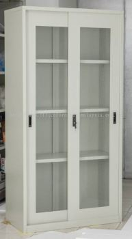 Full height glass sliding steel cabinet