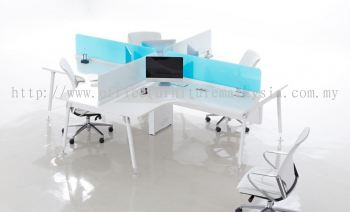 L shape workstation 4 cluster with ixia blue concept