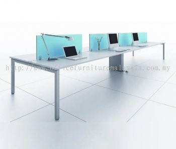 6 cluster workstation with fabric panel and rumex metal leg